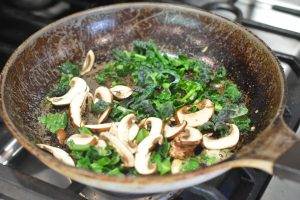 sauteed green onion, kale and mushrooms